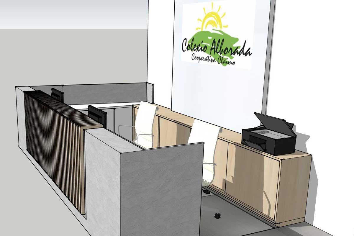 Diseño 3D de la propuesta para la recepción